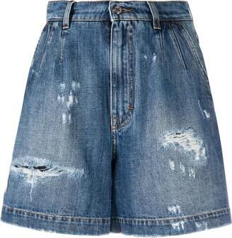 Dolce & Gabbana Ripped Denim Shorts