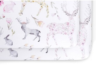 Oilo 2-Pack Fitted Fawn Print Jersey Crib Sheets