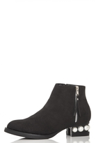 Quiz Black Faux Suede Pearl Heel Ankle Boots