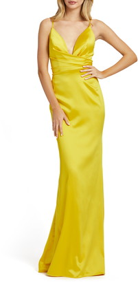 Mac Duggal Faux Wrap Trumpet Gown