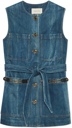 Gucci Marble washed denim vest
