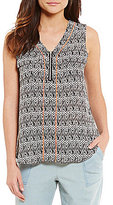 Takara Zigzag Printed V-Neck Sleeveless High-Low Zipper Top