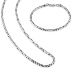 """Esquire Men's Jewelry 2-Pc. Set Box Link 22"""" Chain Necklace and Bracelet in 14k Gold-Plated Sterling Silver, also available in Sterling Silver, Created for Macy's"""