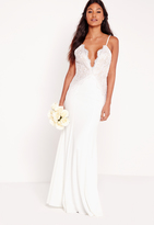Missguided Bridal Scallop Lace Cami Maxi Dress White