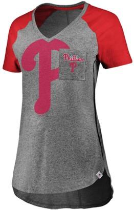Majestic Women's Gray/Red Philadelphia Phillies Static Pocket Raglan V-Neck T-Shirt