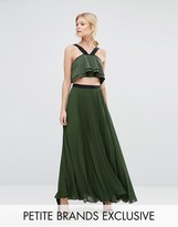 True Decadence Petite Pleated Maxi Skirt With Contrast Waistband