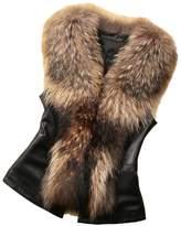 Engerla Women's Fashion Lady PU Leather Vest with Faux Fur(XXXL)
