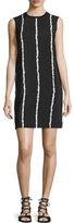 Derek Lam 10 Crosby Sleeveless Striped Silk Shift Dress, Black/White