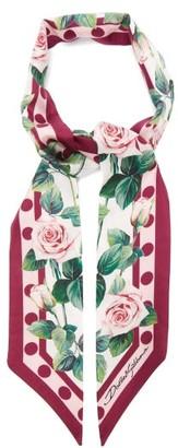 Dolce & Gabbana Rose-print Silk-twill Scarf - Pink White