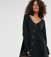 Asos Tall DESIGN Tall mini button through swing dress in texture