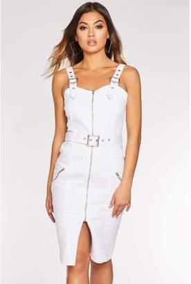 Quiz White Denim Zip Front Belted Midi Dress