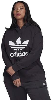 adidas Plus Size Trefoil Hoodie (Black/White) Women's Sweatshirt
