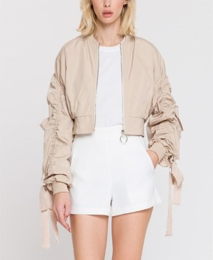 Endless Rose Cropped Bomber Jacket with Grommet Detail