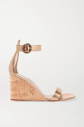 Gianvito Rossi Portofino 85 Metallic Leather Wedge Sandals - Gold