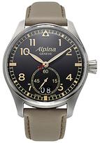 Alpina Al-280bgr4s6 Startimer Pilot Date Leather Strap Watch, Cream/black