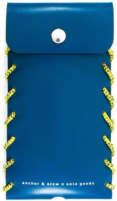 Anchor & Crew Traffic Blue Standen Leather & Rope Phone Case