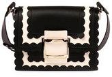 Roger Vivier Viv Mini Scalloped Shoulder Bag, Black/White