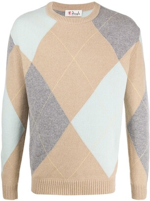 Pringle Argyle Round Neck Jumper