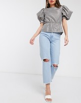 Asos Design DESIGN Recycled Florence authentic straight leg jeans in bright lightwash blue with rips and raw hem