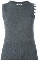 Thom Browne Sleeveless crew neck Shell Top With 4-Bar Stripe In Dark Grey Cashmere