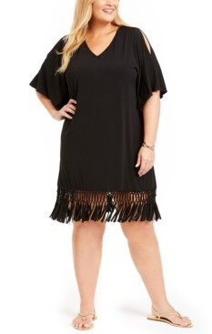 Dotti Plus Size Island Macrame Fringe Tunic Cover-Up Women's Swimsuit