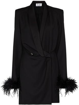 ATTICO Feather-Trim Double-Breasted Mini Dress
