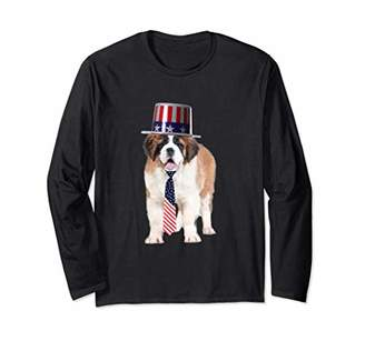 Saint Bernard 4th Of July Dog In Top Hat and Tie Long Sleeve T-Shirt