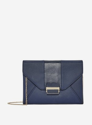 Dorothy Perkins Womens Navy Lock Front Clutch Bag