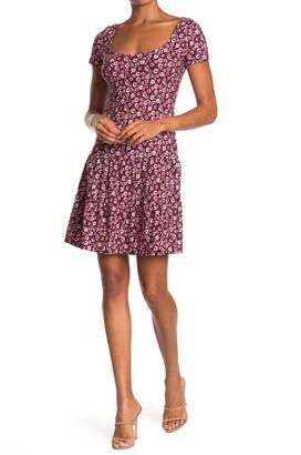 GOOD LUCK GEM Scoop Neck Tiered Floral Print Dress