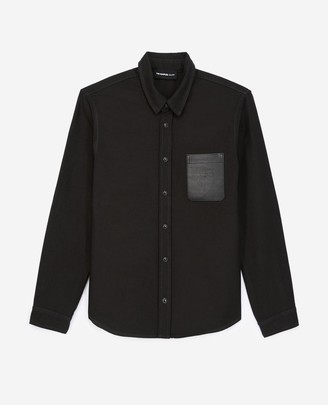 The Kooples Black denim shirt with leather breast pocket
