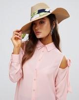 Eugenia Kim Genie by Willa Camel Straw Hat with Tropical Scarf Trim