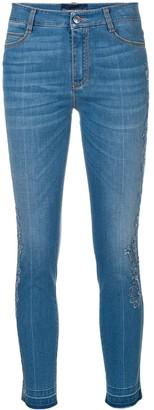 Ermanno Scervino cropped lace appliqué jeans