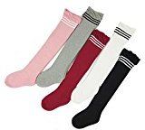 ieasysexy Newborn Baby Girls Boys 0-2Y Strip Cute Style Cotton Knee High Loose Mouth Socks for Toddler 5 Pairs(M)