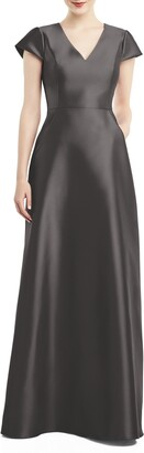 Alfred Sung V-Neck Satin Cap Sleeve Gown