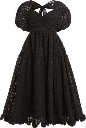Cecilie Bahnsen Maya Puff-Sleeve Cloque Midi Dress