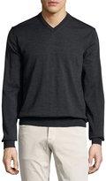 Neiman Marcus Wool V-Neck Sweater, Shadow