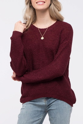 Blu Pepper Back Keyhole Cutout Knit Sweater