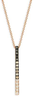 Effy 14K Rose Gold, Black, Brown White Diamond Pendant Necklace
