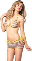 Leg Avenue Women's Net Rainbow Striped Bikini Top G-String Mini Skirt 3 Pieces