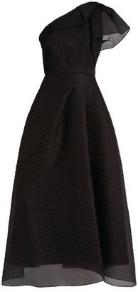 Roland Mouret Ostuni One-Shoulder Draped Midi Dress