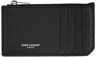 Saint Laurent Black and Silver Fragment Card Holder