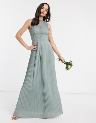 TFNC bridesmaid lace back maxi dress in sage