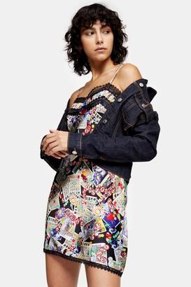 Topshop Womens Idol Tarot Card Print Lace Satin Slip Dress - Multi