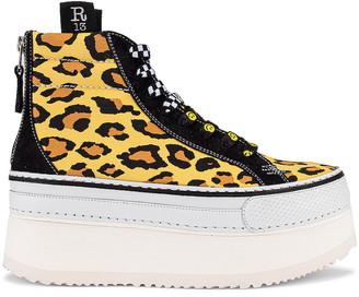 R 13 High Top Skate Platform Sneaker in Yellow Leopard & Black Suede   FWRD