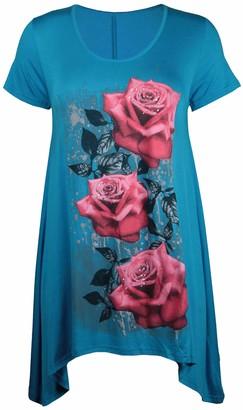 Purple Hanger New Womens Plus Size Uneven Hanky Hem Short Sleeve T-Shirt Top Ladies Floral Rose Print Jersey Tunic Turquoise Size 20