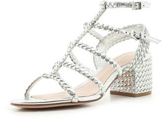 Schutz Clarcie Braided Caged Block-Heel Sandals