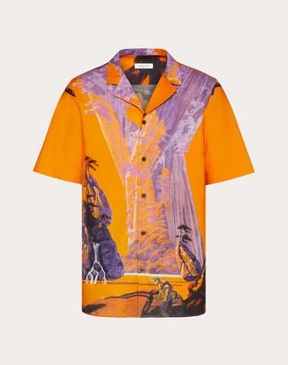 Valentino Yellow City Short-sleeved Shirt Man Multicolored Cotton 100% 48
