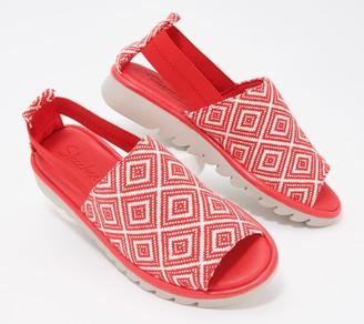 Skechers Open-Toe Red Print Slip-On Shoes - Jigsawed