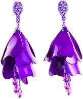 Oscar de la Renta Purple Large Impatiens Flower Drop Earrings