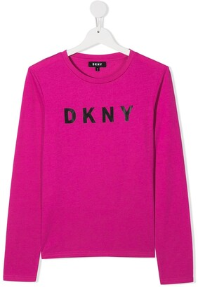 DKNY TEEN logo-print long-sleeved T-shirt
